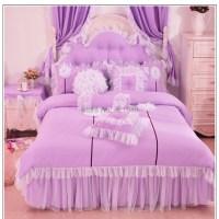 Purple/Pink/Blue Korean lace princess bedding set cotton 3 ...