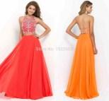 Two Piece High Neck Beaded Long Prom Dress