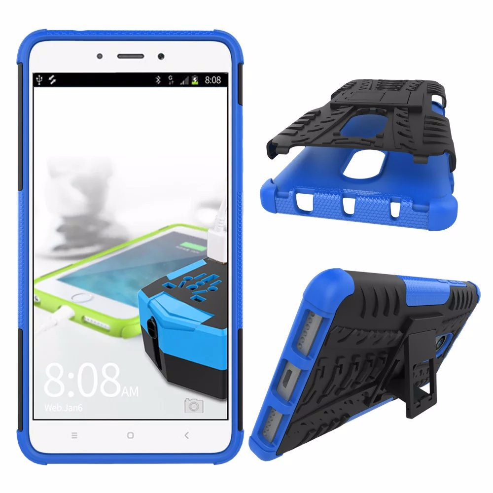 Iboann For Xiaomi Redmi Note 4 Hongmi Note4 Cases Hard Cover Heavy Case 4a Hybrid Transformer Robot Standing Click Here Duty Armor Rugged Rubber Silicone Stand Phone
