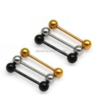 6 Pcs 16G Barbell Tongue Ring Nipple Nipple Studs ball