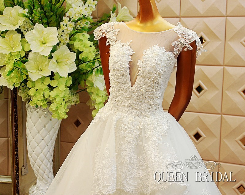 ①vestido de noiva tulle oragzan wedding dress pealrs lace