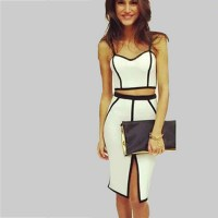 2 Piece Bandage Dress Summer 2015 Casual Women All White