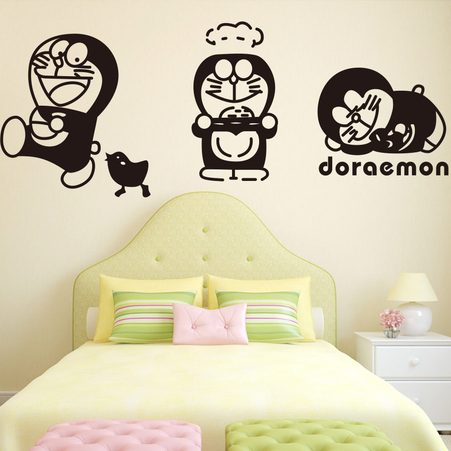 ᗕ4pcs/lot KIDS ROOM WALL\'S MATTER Home Decor Doraemon Cartoon Vinyl ...