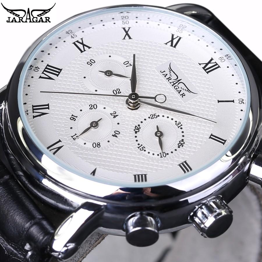 634943882236 2018 nueva marca de lujo JARAGAR automático mecánico auto-viento 24 horas  semana Fecha del índice romano Dial negocios hombres Relojes