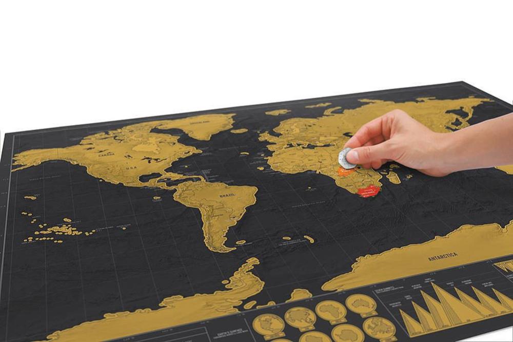 っVintage Deluxe Scratch Map Mappa Del Mondo Poster Wall Sticker ... a90b1e2a9ec0