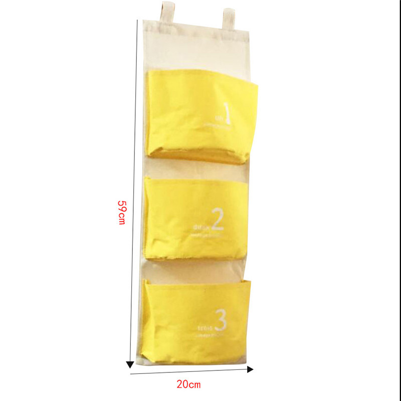 Ξ Cute Wall Mounted 3 Pocket Storage Bag Bathroom Kitchen Supplies ...