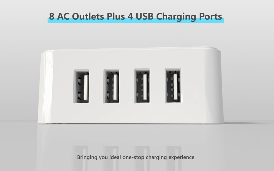 NTONPOWER USP US Electrical Plug 8 AC Power Outlet USB Charger ...