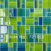 Blue glass mosaic swimming pool tile CGMT110 green glass ...