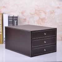 High grade leather office desktop storage box file data ...