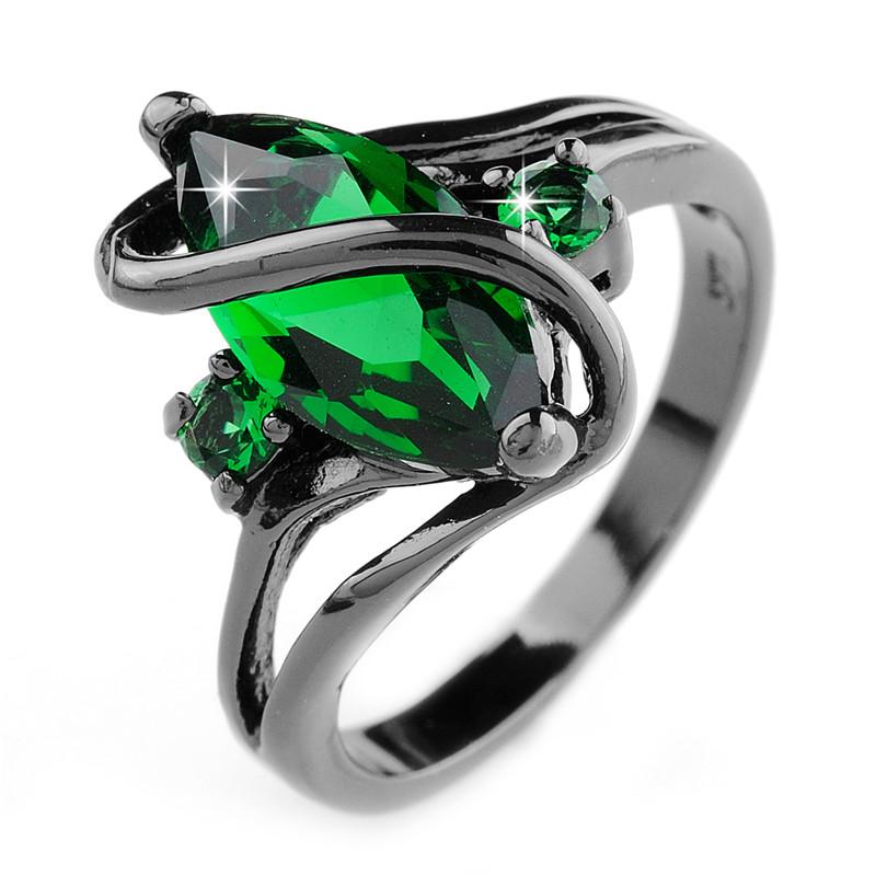 Women Fashion Jewelry Emerald Rings 10KT Black Gold Filled