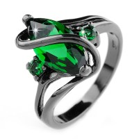 Women Fashion Jewelry Emerald Rings 10KT Black Gold Filled