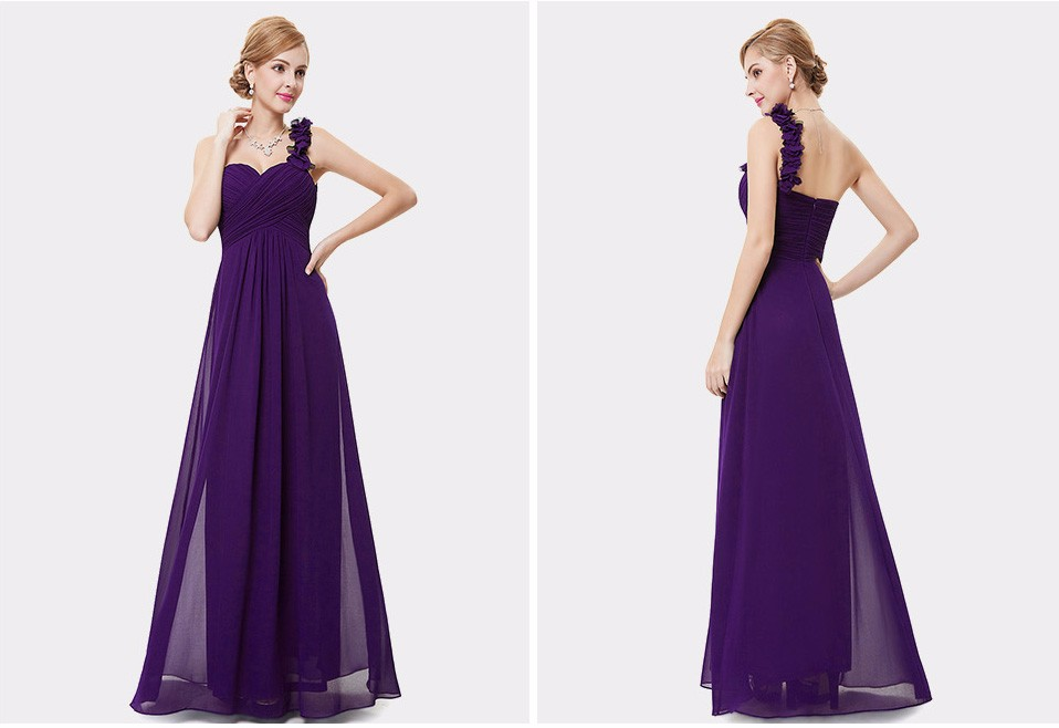 c91f81f3f5f Purple chiffon evening dress Unadjustable one shoulder style Unremovable  flowers on the shoulder make it gorgeous Padded enough for  no bra  option  Unique ...