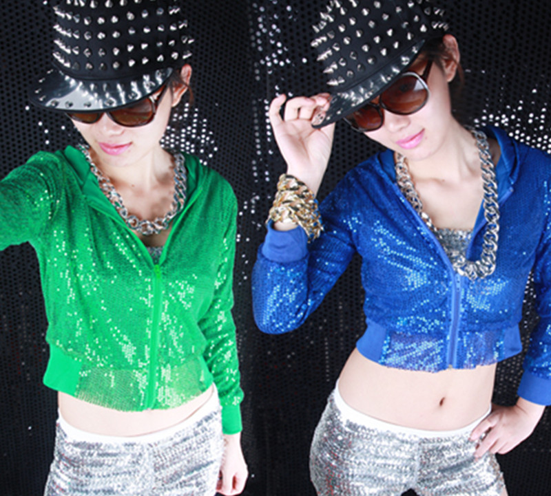 93ce9b4552 ⊰Mujeres Glitter sequin Chaquetas hiphop Outwear con capucha trajes ...