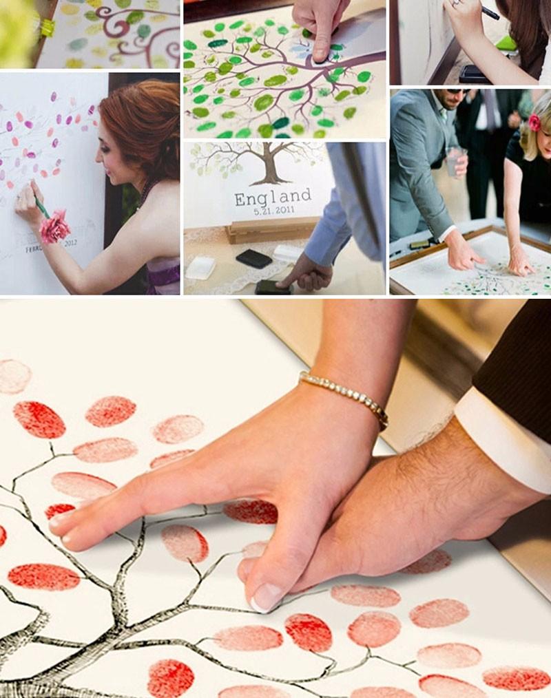 Hot Fingerprint Signature Canvas Painting Fireworks Wedding Gift