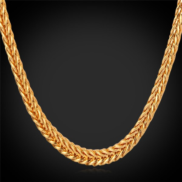 Men Gold Necklace With 18k Stamp Plated 4mm 55cm
