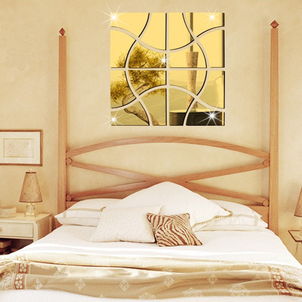 DIY large stitching pattern acrylic mirror wall stickers abstract ...