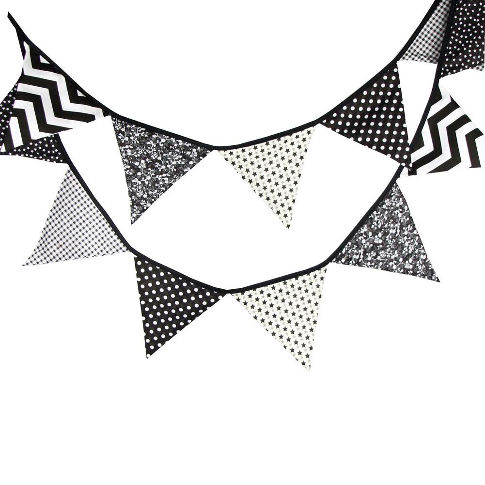 ⊹12 unids banderas 3.2 M negro blanco algodón rústico banner ...