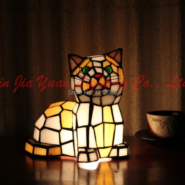 Arrival Tiffany Stained Glass Cat Lamp Table