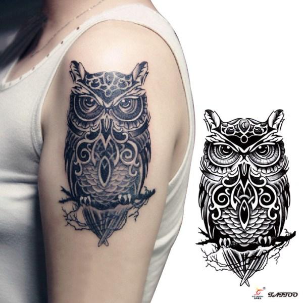 temporary-tattoos-large-black-owl-arm-fake-transfer-tattoo-stickers-hot-sexy-men-women-spray