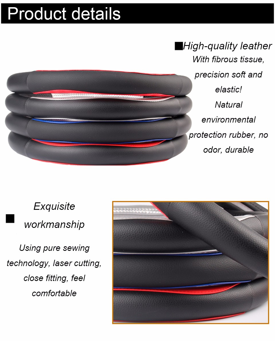 Exquisite Sewing High Quality Universal Leather car steering wheel