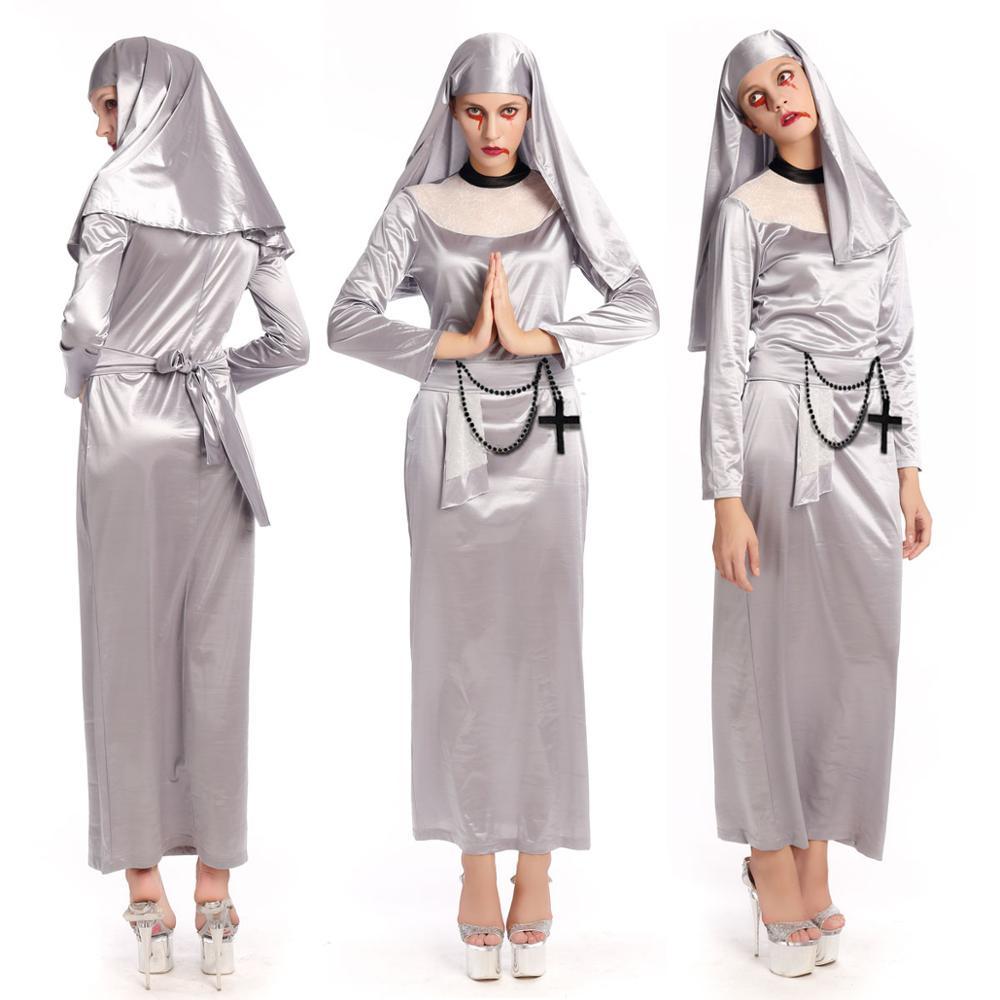 ④scary terror ghost nun costume halloween adult cosplay dress fancy