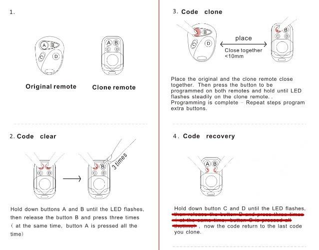 NºEnvío libre! Puerta de garaje clonación Control remoto key FOB 433 ...