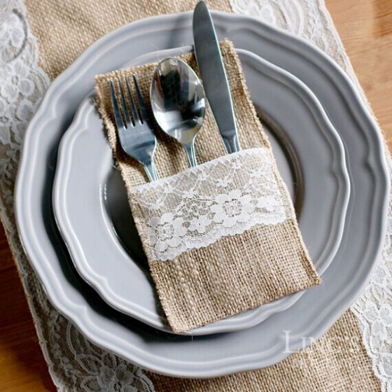 20pcs 21 *10cm Jute Tableware Pouch Pocket Burlap Knife And Fork Bag For Rustic Wedding Decoration Home Table Decor Party Diy Decorations Home & Garden