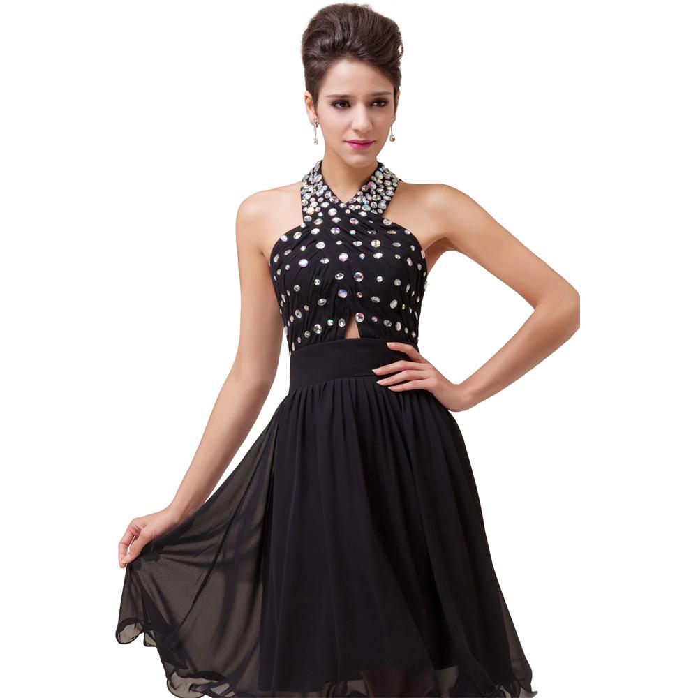 ٩(^‿^)۶Halter Beading Knee Length Short Cocktail Dress Chiffon ...