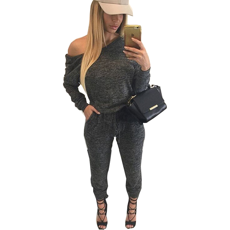gray off shoulder long sleeve casual jumpsuit sexy rompers and jumpsuits for women