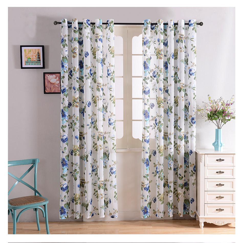 இTopfinel Flax Linen Floral Window Curtains Tulle Luxury Sheer ...