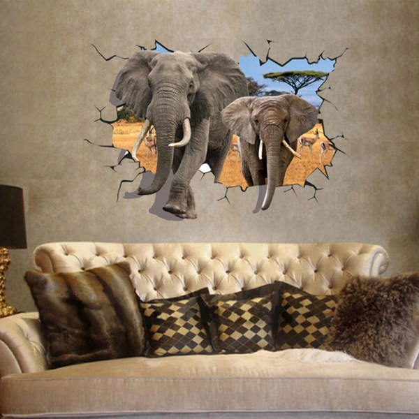 3d Elephant Break Wall Decals Stickers Removable