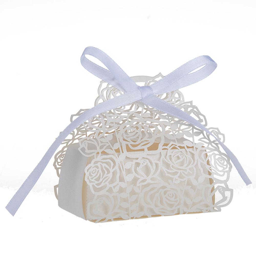 ᗑ】60Pcs/set Rose Laser Cut Hollow Carriage Favors Boxes Gifts ...