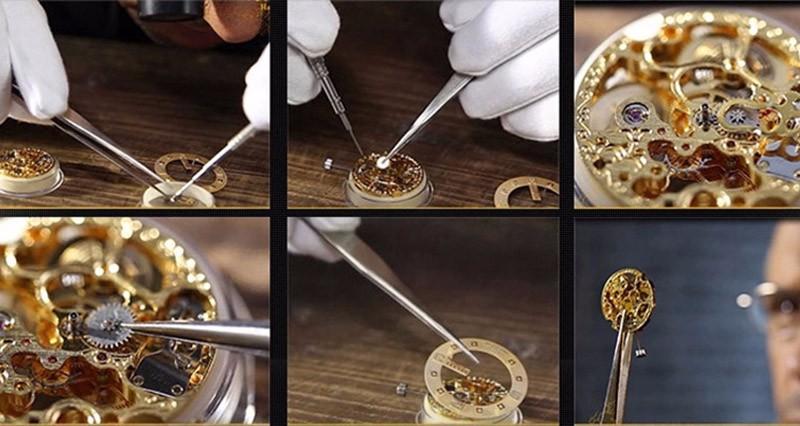 ①Новые OUYAWEI часы Скелет лучшие брендовые роскошные ...