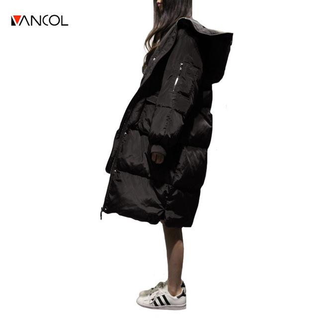 Vancol Куртка Женщины 2016 Корея Мода Высокого Качества С Капюшоном Большой карман Свободные Утолщаются Долго Вниз Перо Черный Плюс Размер Зима пальто