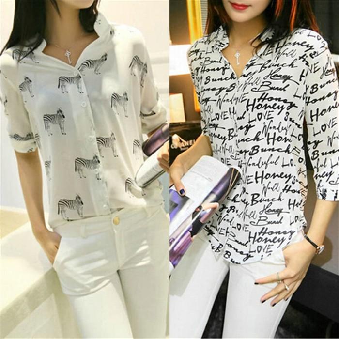 e6b2fc7d374cf ▻Новинки для женщин Письмо Зебра печати блузка шифоновая рубашка ...