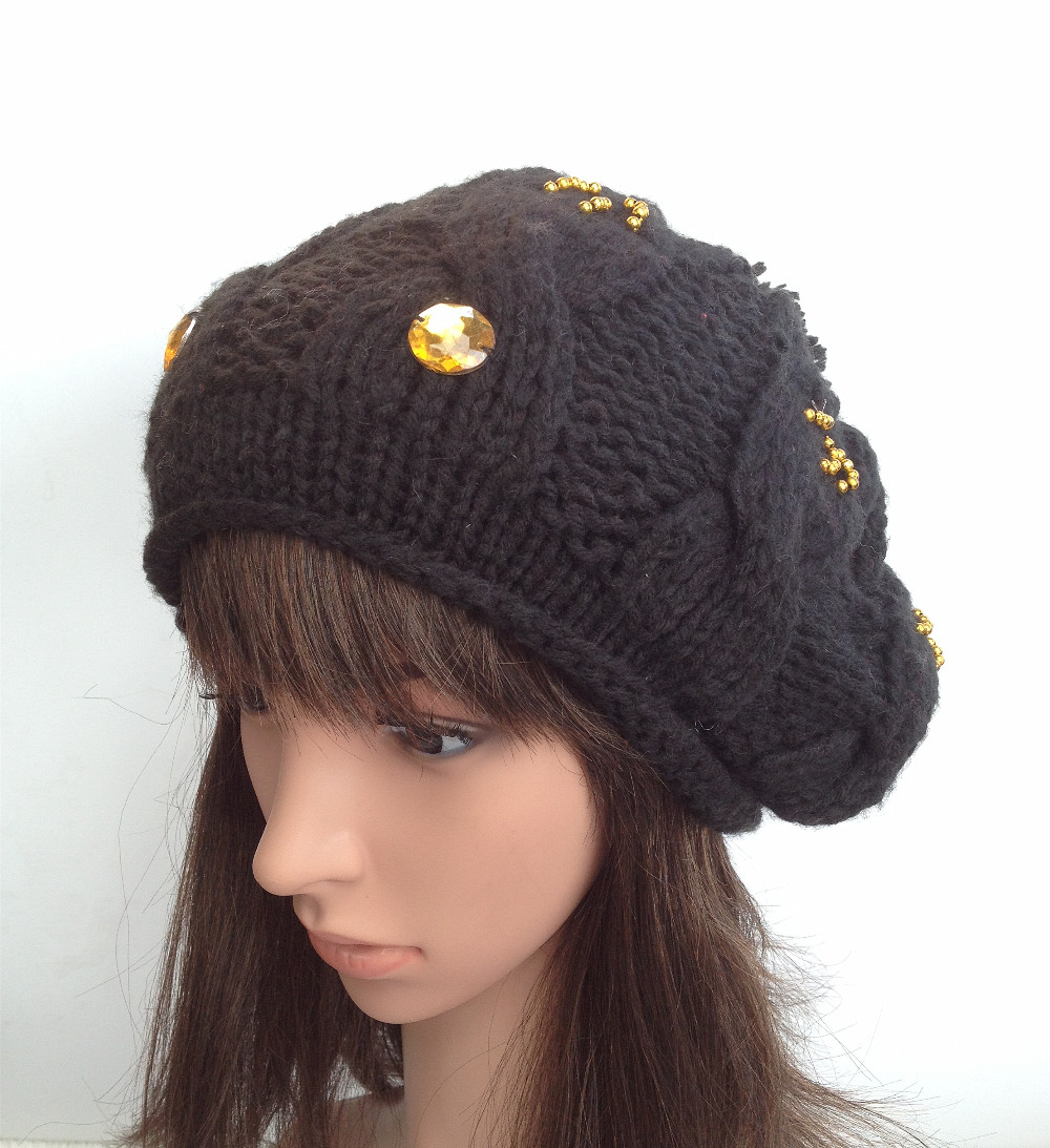 BomHCS 100% handmade knitted beanie hat new ringstone Diamond Black women  winter warm hat cap 66553ab0e6d8