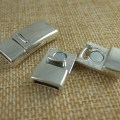 Silver curved magnetic clasps 10mmx2mm for 5mm 10mm flat leather