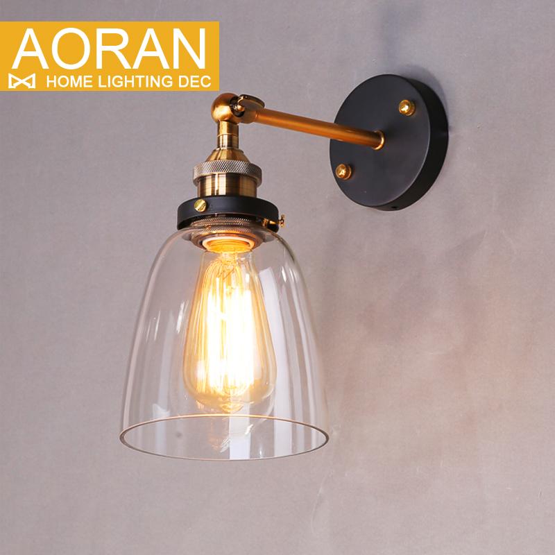 Vintage wall light glass wall lamp 110V 220V bedroom wall