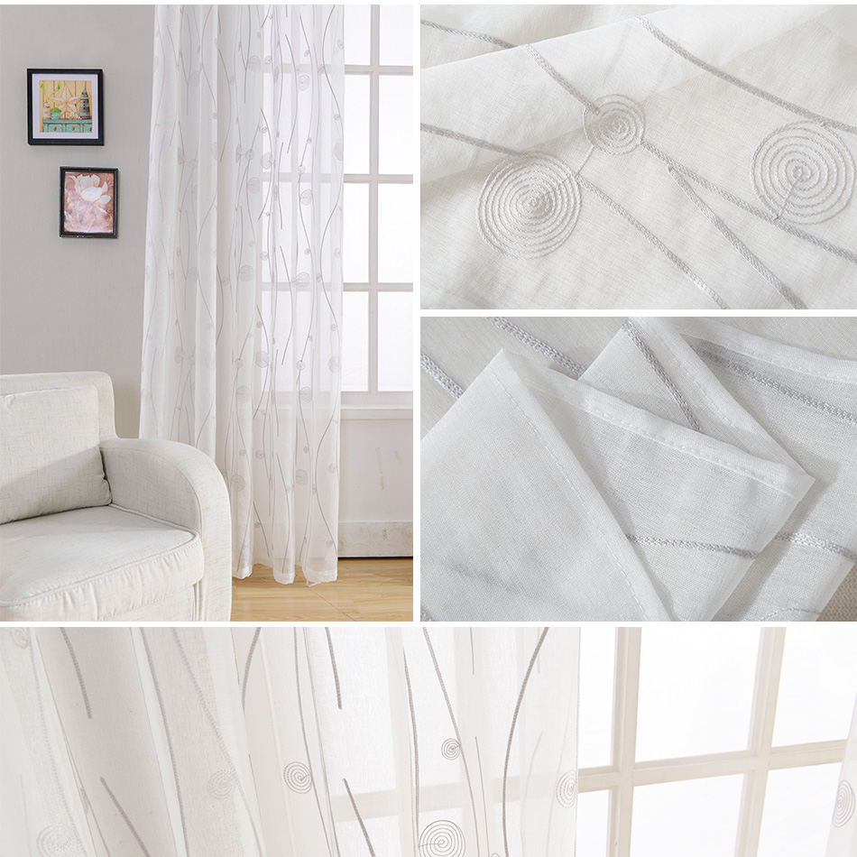 Novo Bordado Branco Padr O Abstrato Janela Tule Cortinas Para Sala