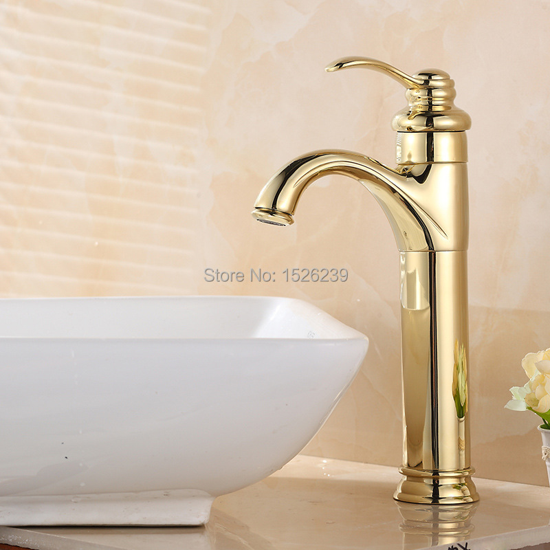Solid Brass Gold Plated Basin Faucet Bathroom Faucet