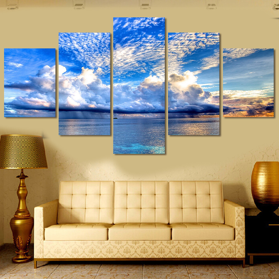ᗖSea And Sky 5 Panels/Set HD Canvas Print Wall Art Picture Unframed ...