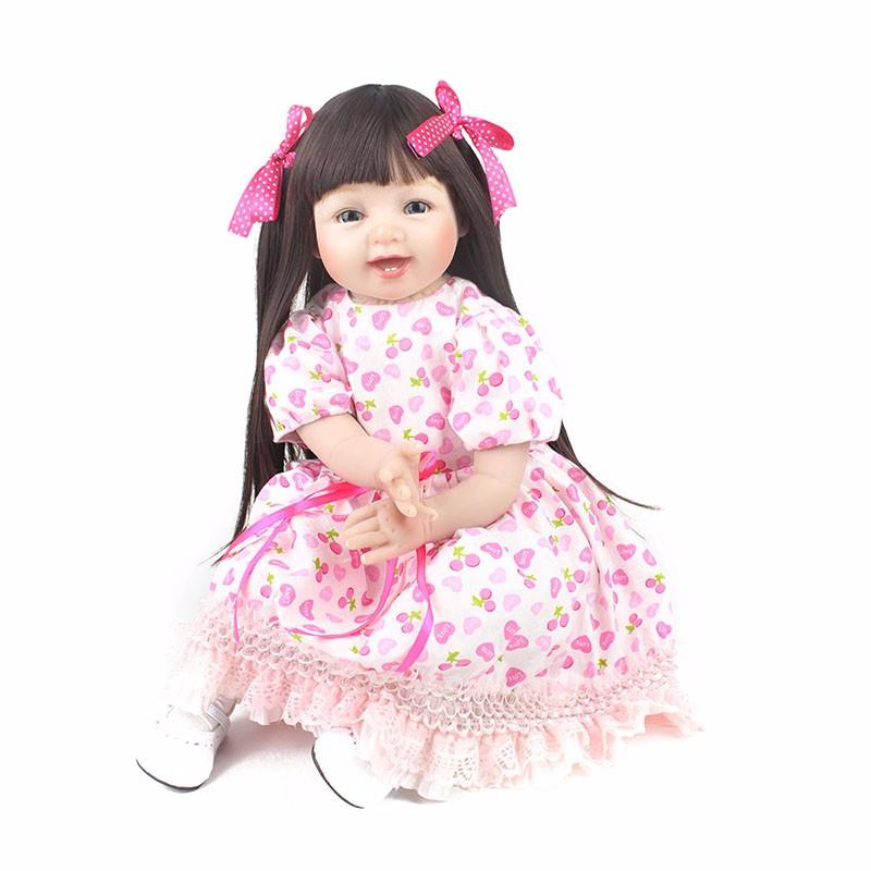 ᗖNPKDOLL 55 cm Weichem Silikon Reborn Puppen 22 Zoll Lebensechte ...