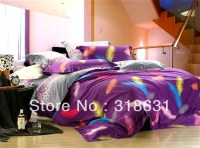 Elegant purple bedding set colorful feather printed ...