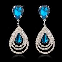 Crystal Rinestone Long Earrings Fashion Jewelry Luxury Big