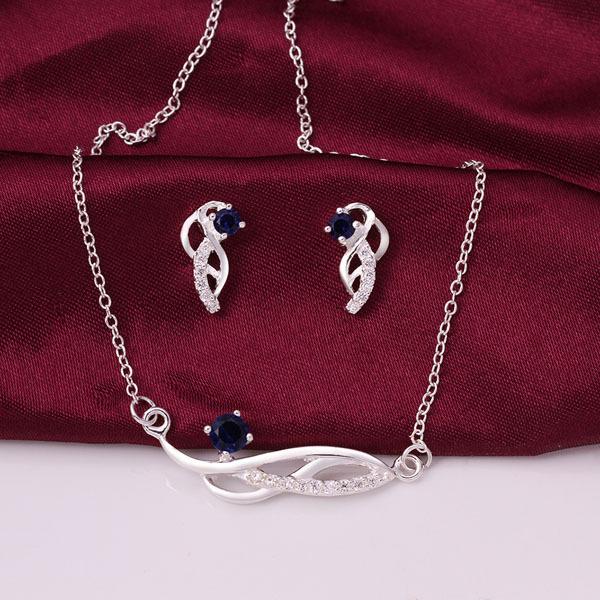 fdbca343fe43 っNueva joyería de la manera 925 plateó la joyería pendientes collar ...