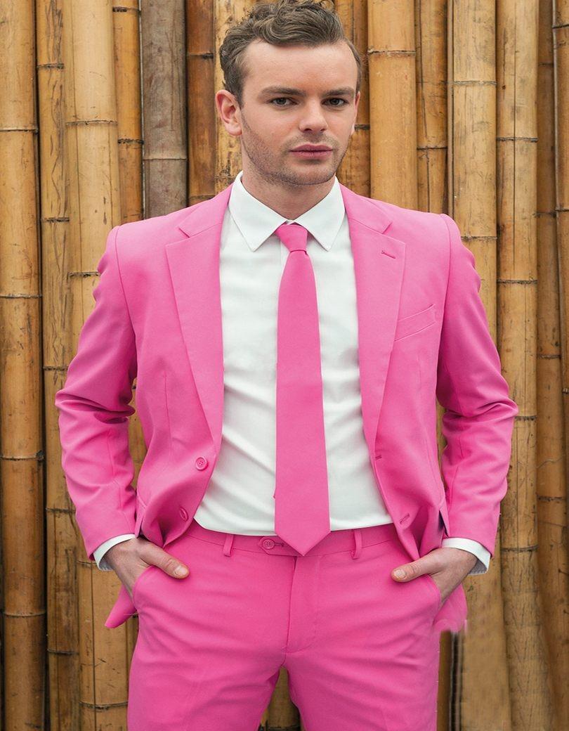 ⊱Tailor Made Rosa caliente hombre boda prom cena Trajes novio ...