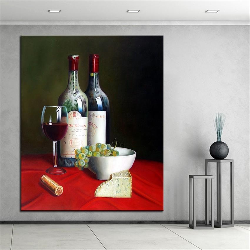 Click here!! Без рамки дома печатных две бутылки Красного вина натюрморт  маслом Холсты для рисования печатает настенная Книги по искусству  фотографии д. 468f2ee2137