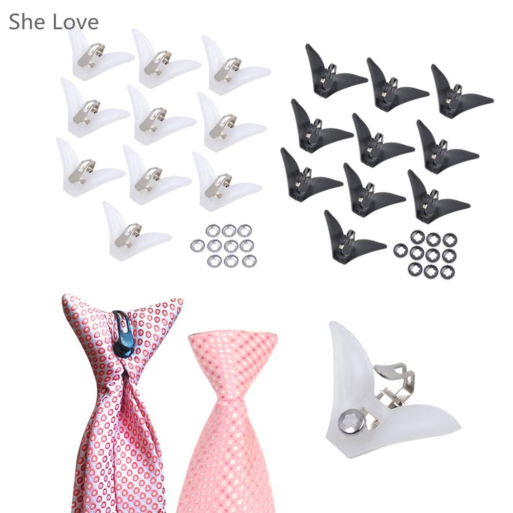 ᗑ】10 unids lazo plástico Clips en corbata a estrenar negro blanco ...