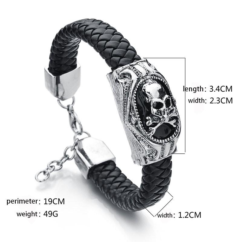 17d96aeae174 Novedad moda cuero pulseras calavera encantos pulseras brazaletes ...