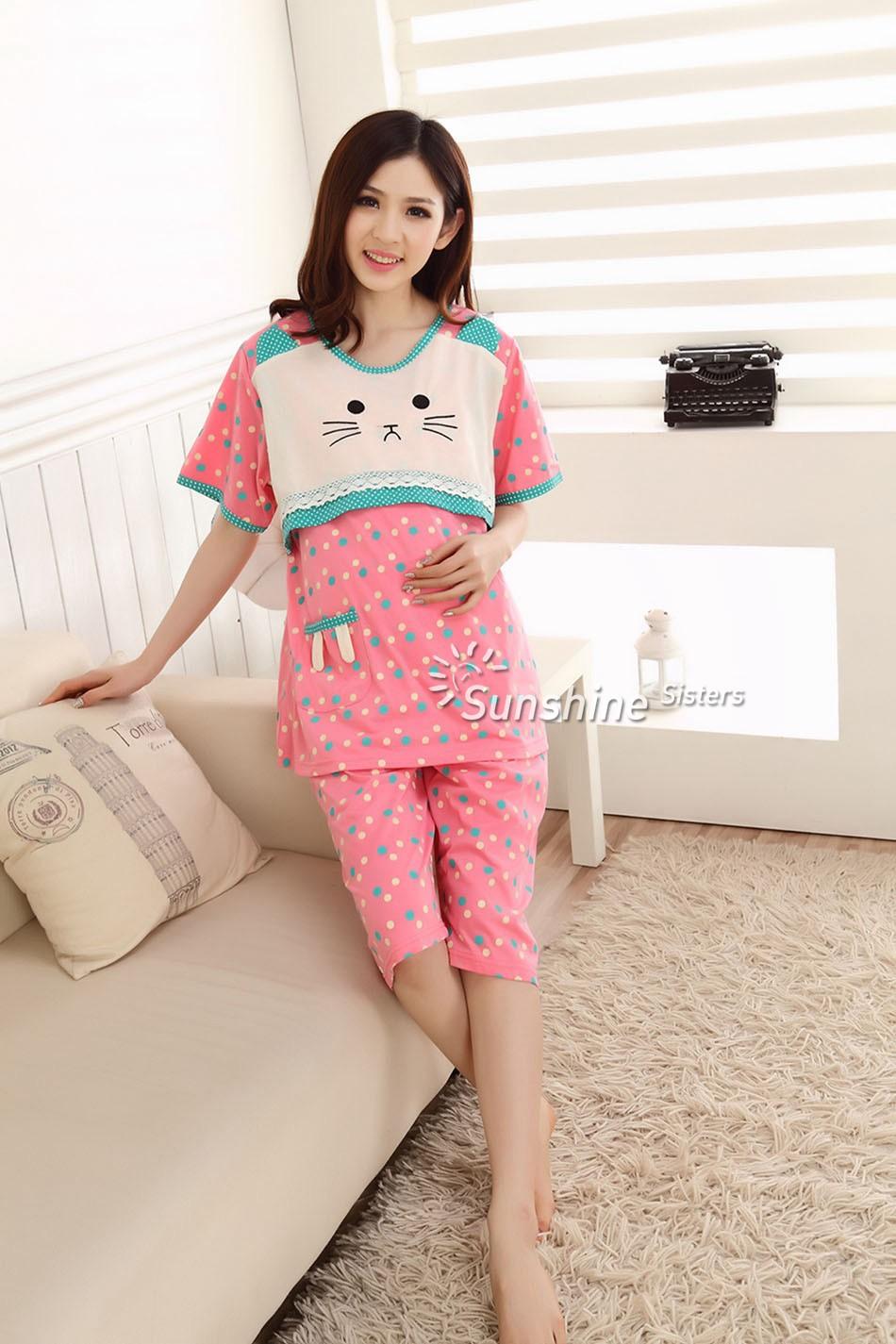 ᐂAzul Polka Dot algodón verano vestidos para embarazadas maternidad ...
